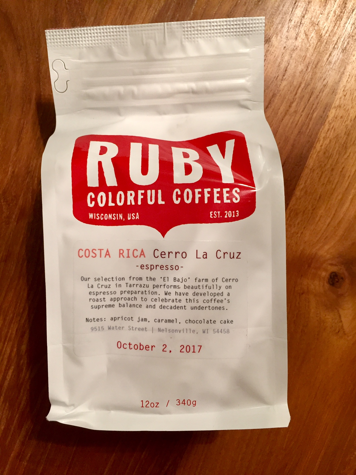 Ruby Coffee Roasters Costa Rica Cerro La Cruz Espresso