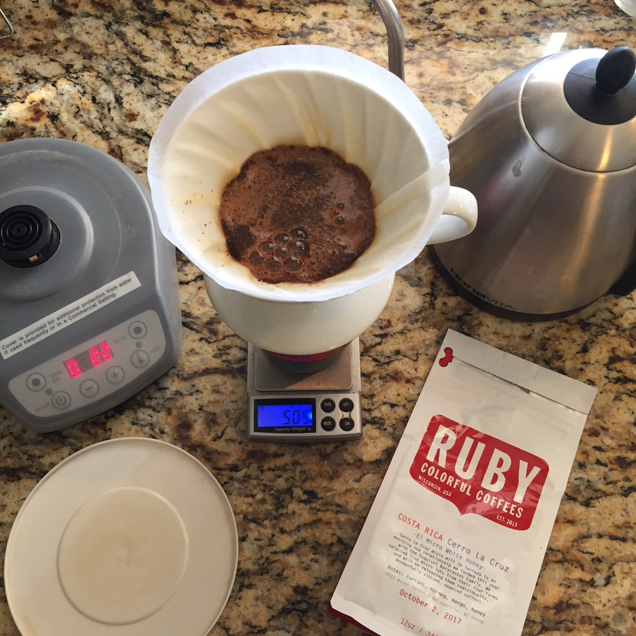 My go-to brewing setup with the Bonavita Variable Temp Kettle and Hario V60. Click through for product link.
