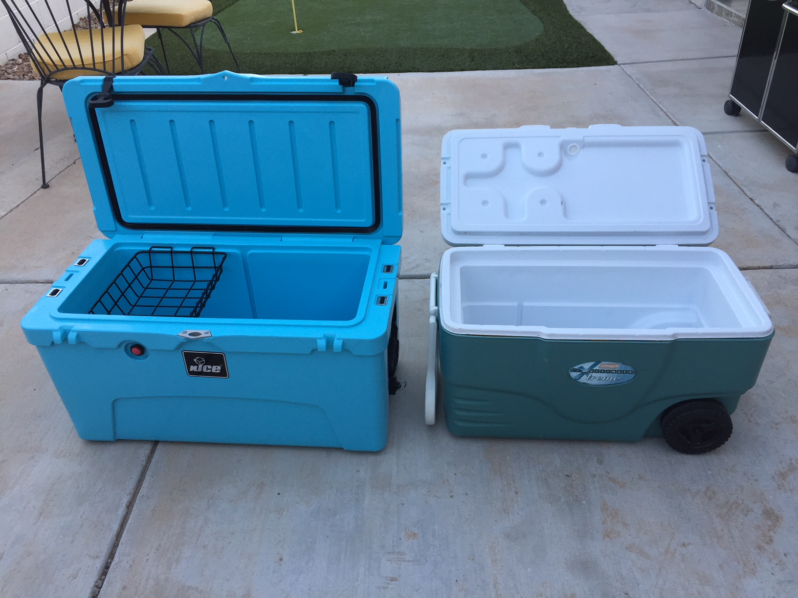 """The nICE next to our previous """"big"""" cooler."""