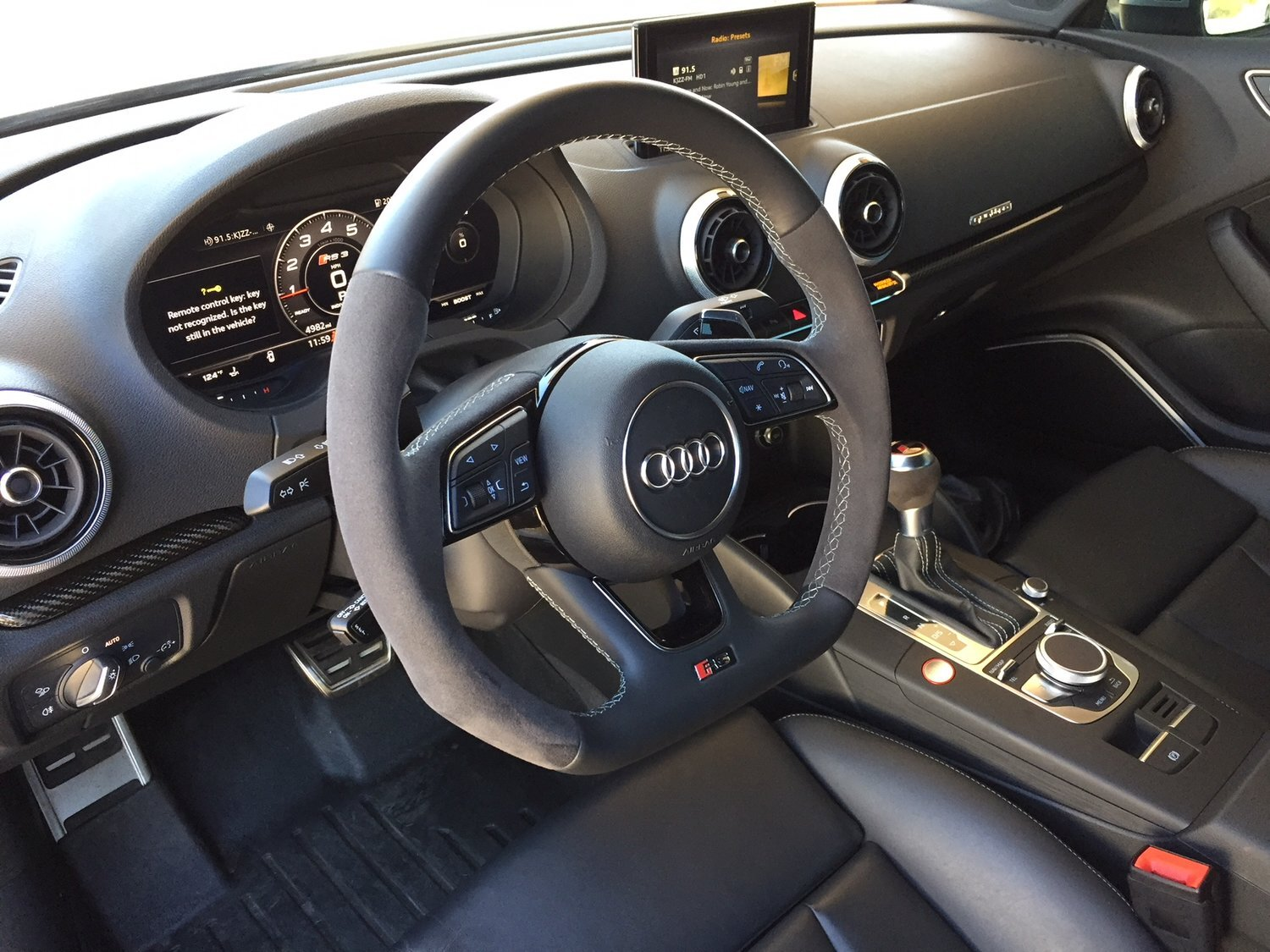 I did love that flat bottom steering wheel, and if you're going to have a screen on the dash, it's nice that this one could be lowered (though late 2018's and on stay up when the car is one due to safety regulations).