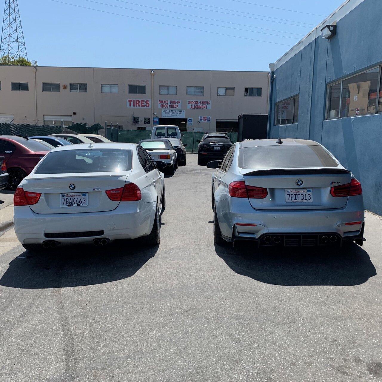 The E90 M3 (left) looks almost pedestrian compared to the far more aggressive F80 M3 (right).