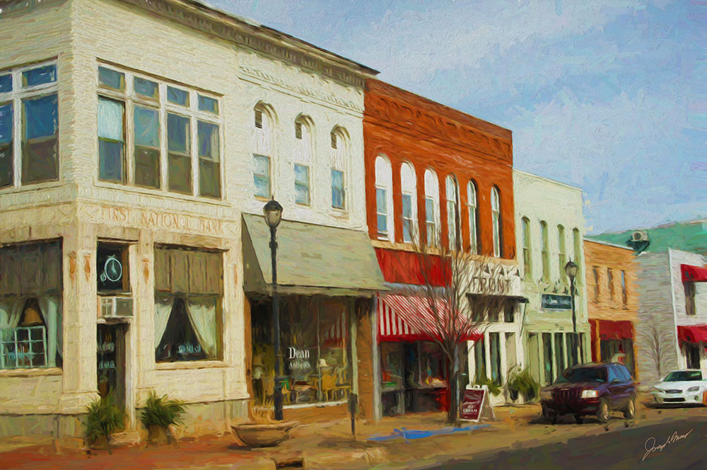 Impressionist style rendering of downtown Buchanan. —  MAP  © Joseph Maas, 2016. All rights reserved.