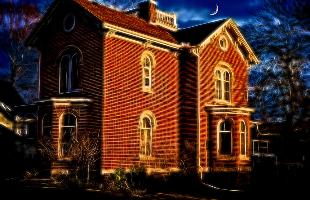 Photo art rendering of a stately old brick mansion on Charles Court. —  MAP  © Joseph Maas, 2016. All rights reserved.