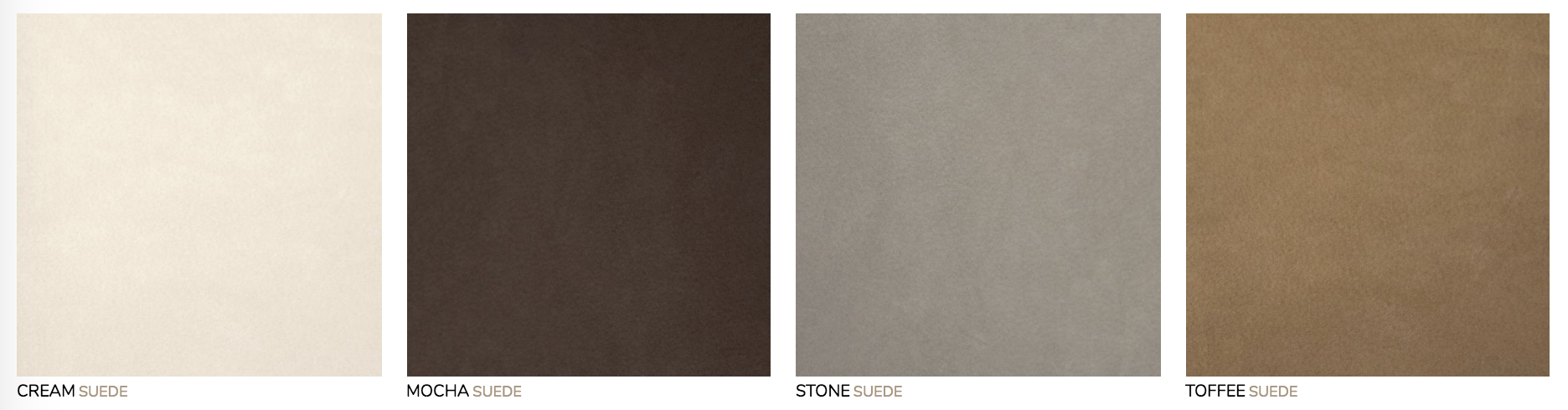 Suede Cover:  Smooth nubuck with a sleek surface, elegant look, silky touch. Note, suede may scuff more easily than Standard Leather.
