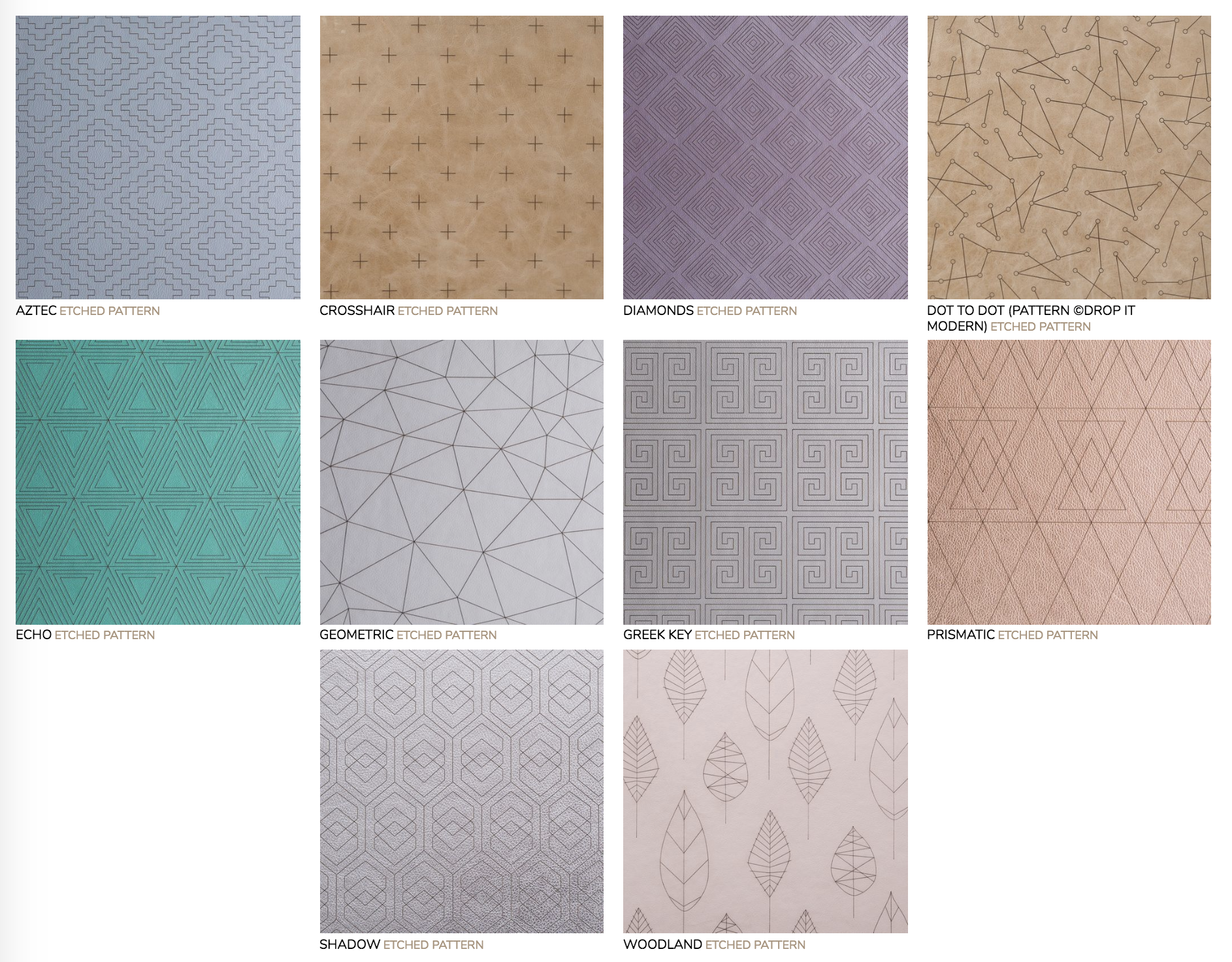 Etched Patterns:  Super fine laser design cuts made in cover material. Not available for Linen covers.
