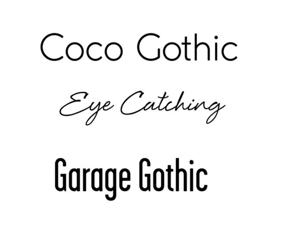 Font:  Coco Gothic, Eye Catching, or Garage Gothic. Up to 3 lines of text, front and center.