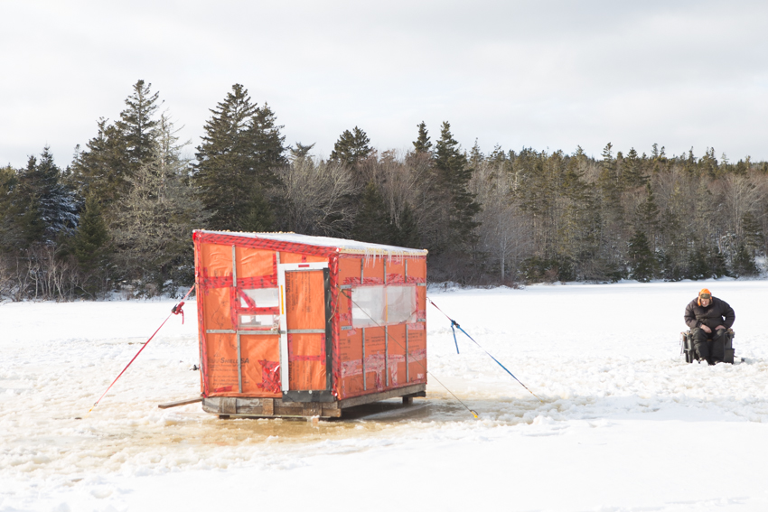 Ice Fishing in Ships Harbour, NS.
