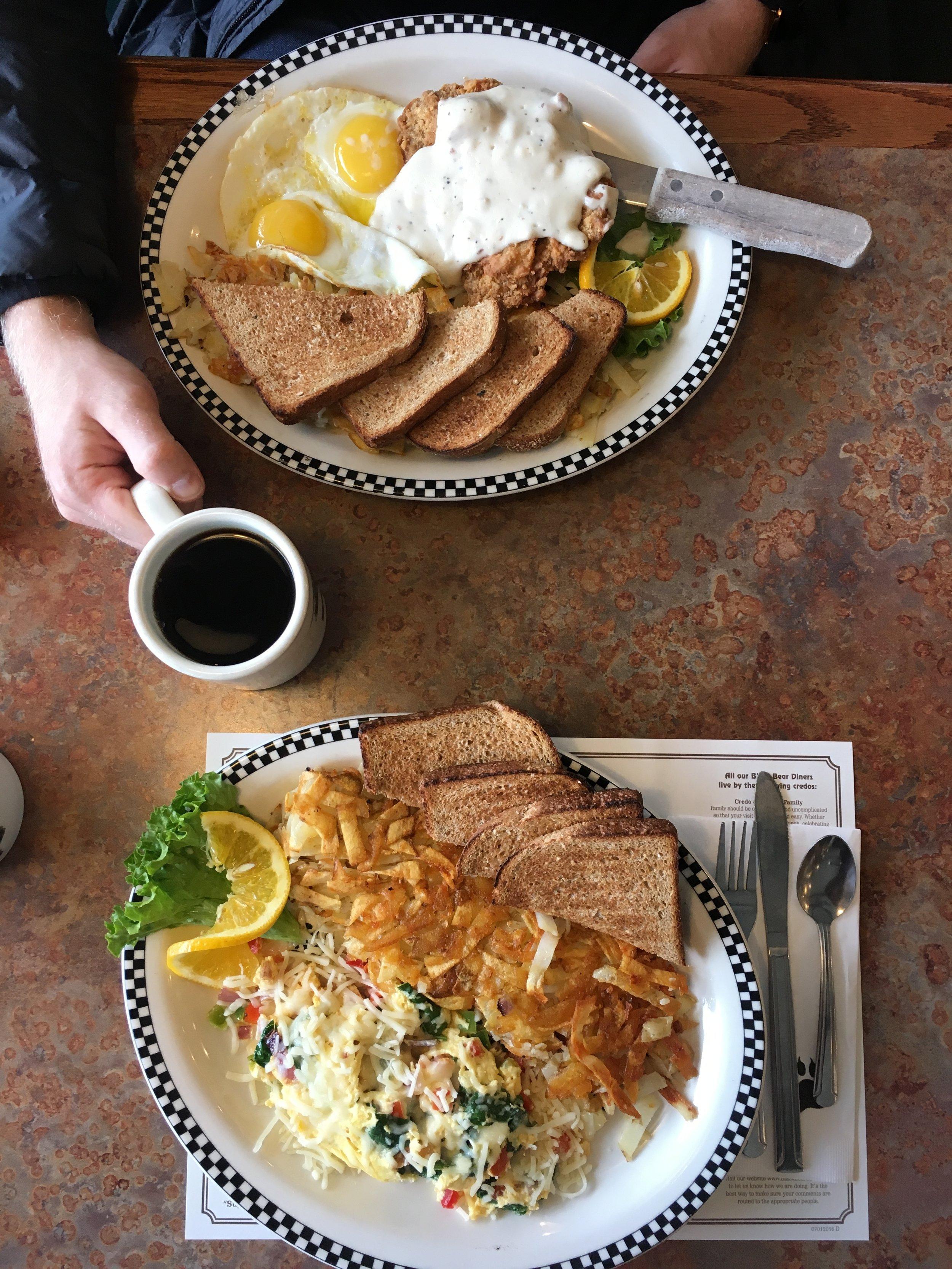 Breakfast at Black Bear Diner in Mount Shasta.