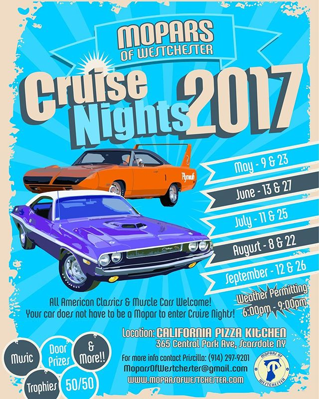 SEE YOU TONIGHT!!! #carshow #cruisenight #californiapizzakitchen #cpk #mopar #trophies #fun #spring #summer #music #cars #classics #antiques #musclecar #moparsofwestchester