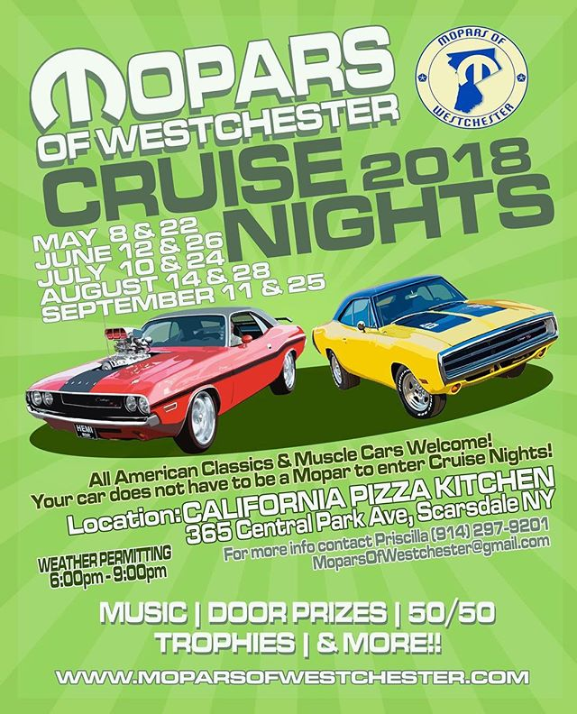 WE'RE BACK!!! OUR FIRST CRUISE NIGHT IS TOMORROW!!! HOPE TO SEE YOU THEN! #carshow #cruisenight #californiapizzakitchen #cpk #mopar #trophies #fun #spring #summer #music #cars #classics #antiques #musclecar #moparsofwestchester