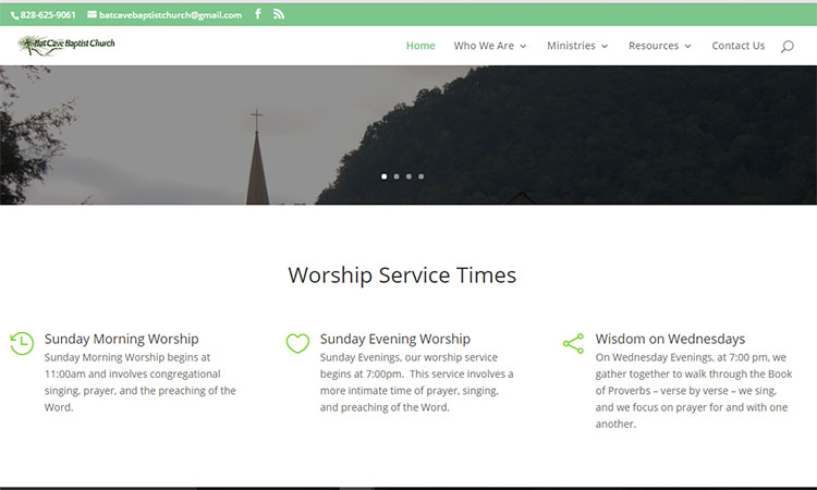 Example of a well designed site. Click photo for more about Batcave Baptist Church. Design by  Servant Design .