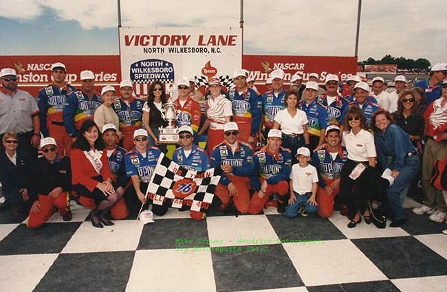 Jeff Gordon celebrating victory at NWS in 1996. Credit: Save the Speedway