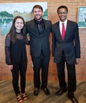Pictured (from left to right): Ginny Paige Velasquez, Jonathan Schallert (Music Director), Jeffrey Huddleston II