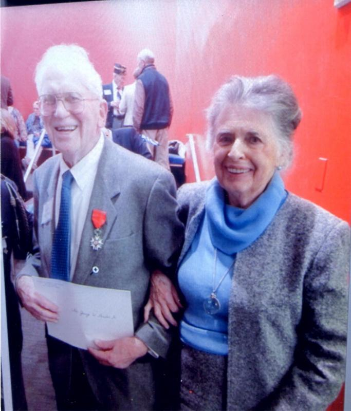 George and Ray Pouder at the official ceremony on Veteran's Day at the Lycée Francais de New York, when George was presented with the insignia of the Legion of Honor.