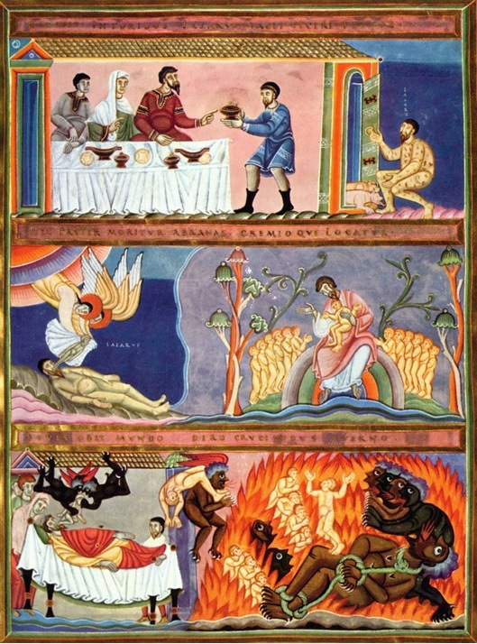 Dives and Lazarus: a page from the Codex Aureus of Echternach, c. 1035