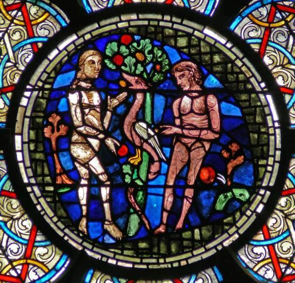 Adam and Eve in the Garden of Eden: Notre Dame Cathedral, Paris