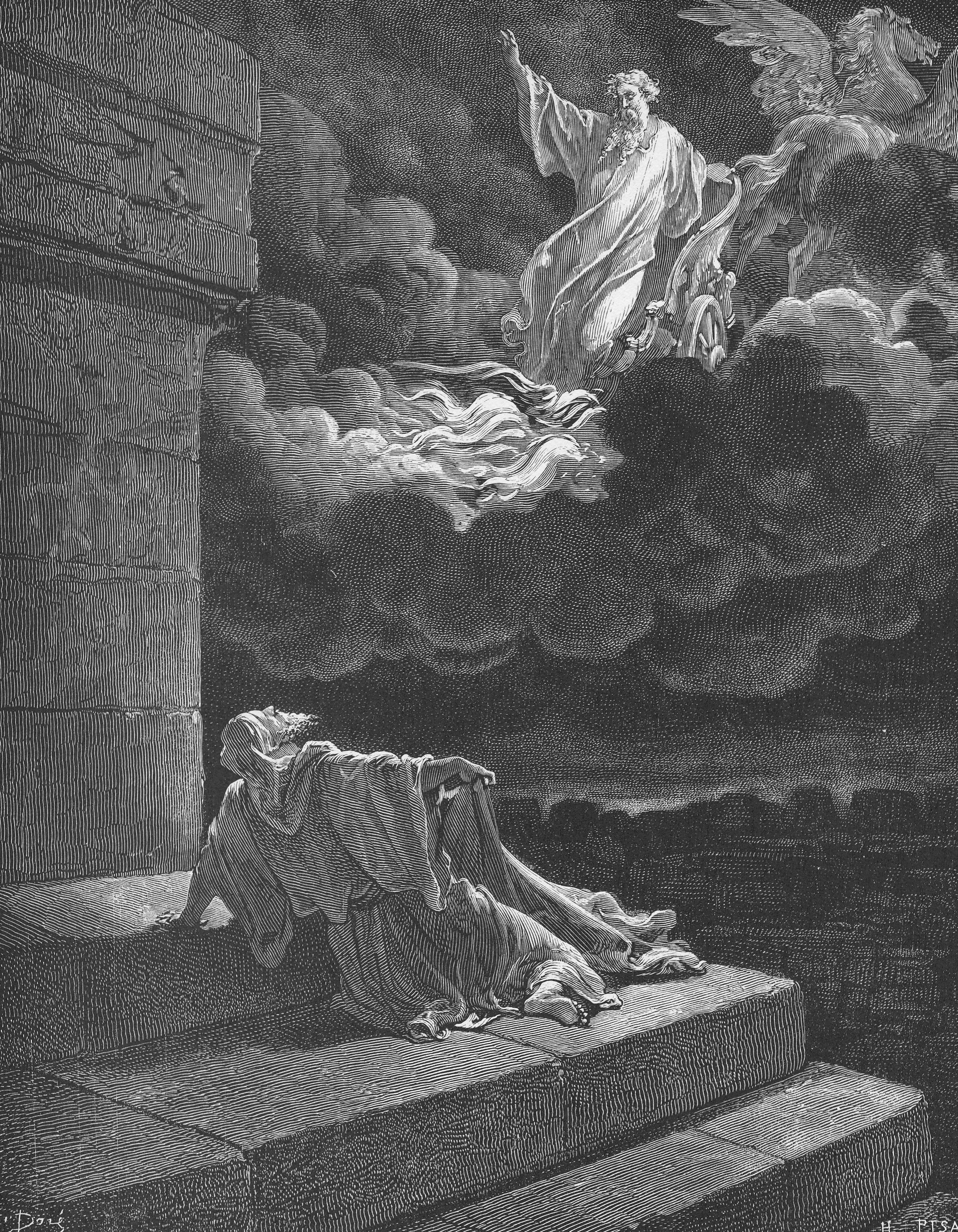 'Elijah ascends to Heaven' from  Doré's English Bible of 1866