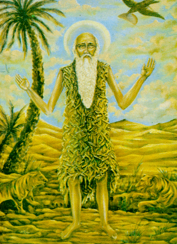 An icon of St. Paul the Hermit.