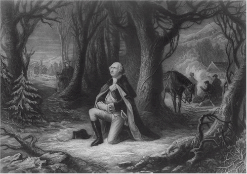 George Washington praying for this country at Valley Forge, PA