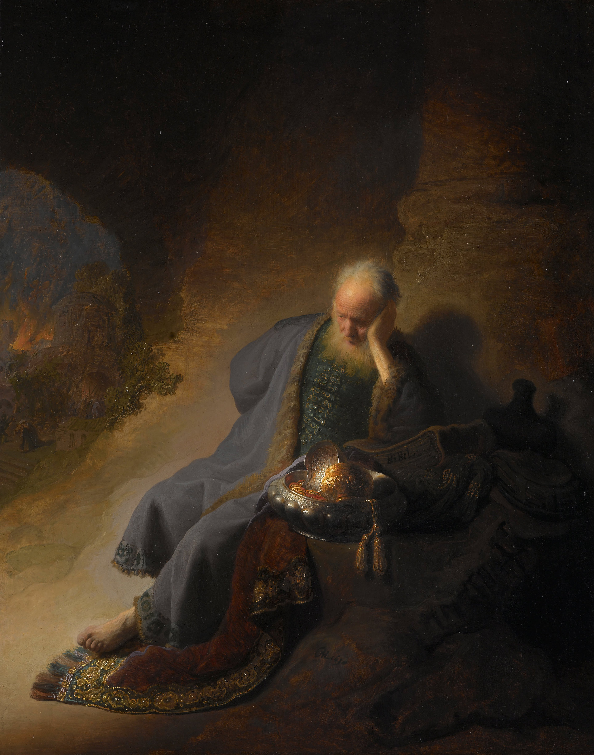 'Jeremiah Lamenting the Destruction of Jerusalem', by Rembrandt van Rijn, c. 1630