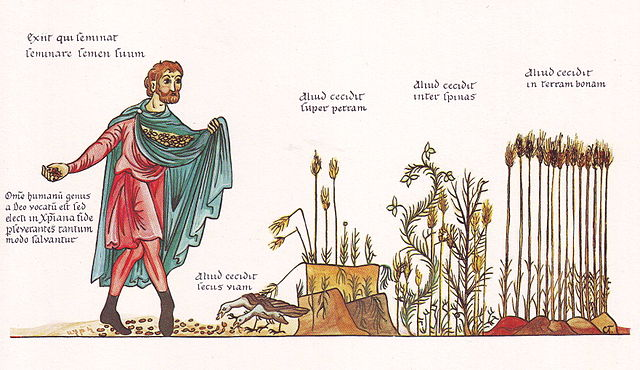 The Parable of the Sower as illustrated in Hortus deliciarum compiled by Herrad of Landsberg at the Hohenburg Abbey in Alsace (12th century).