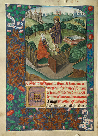 Jesus appearing to Mary Magdalene as a gardener in the  Vaux Passional  (late 15th c.)