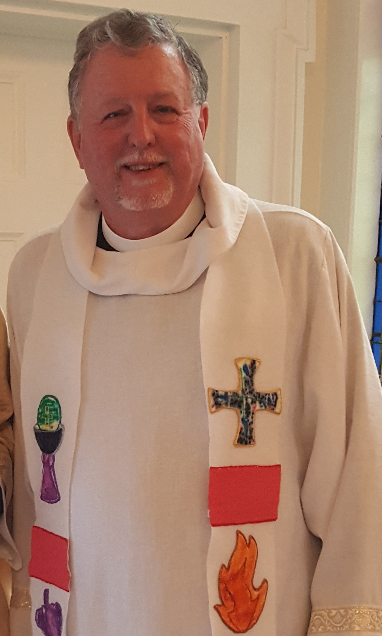 Fr. Harry Abernathy at the 175th Anniversary service, wearing a stole made for him by St. Stephen's Sunday School in the 1990s