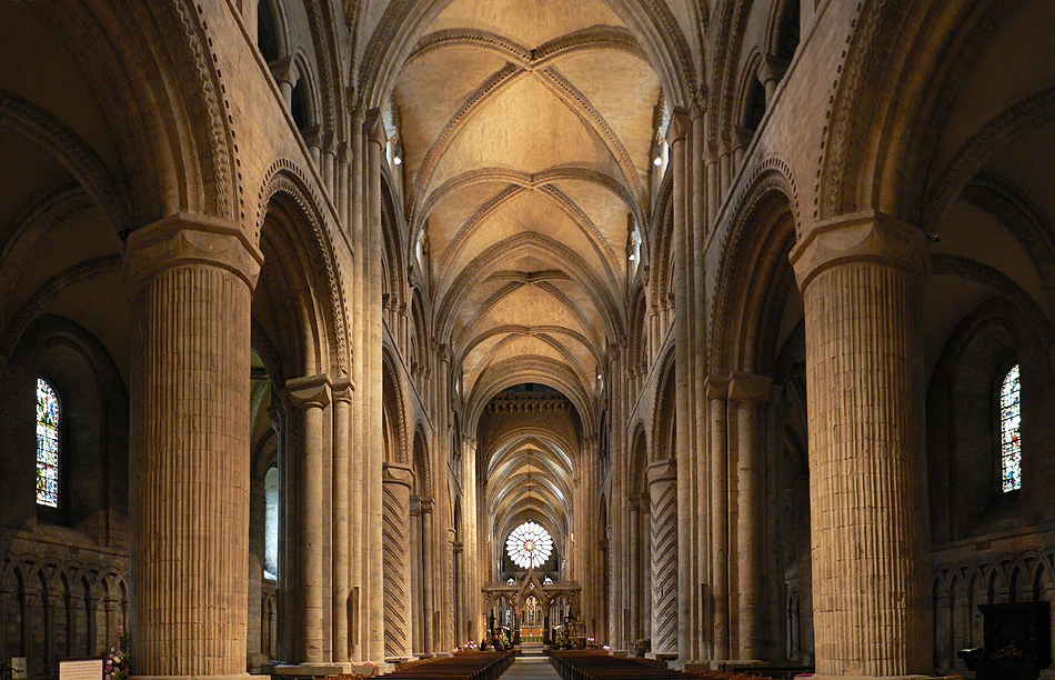 The interior of Durham Cathedral, England