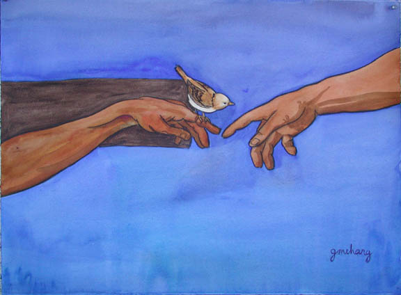 'The Exchange' by Gwen Maharg. Jesus is nailed to the cross. He and his Heavenly Father are reaching for each other. The sparrow represents us. Read more about its meaning  here.