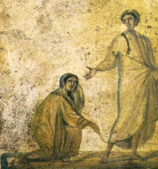A fresco of Jesus healing the woman withh hemorrhages, from the Catacombs in Rome.