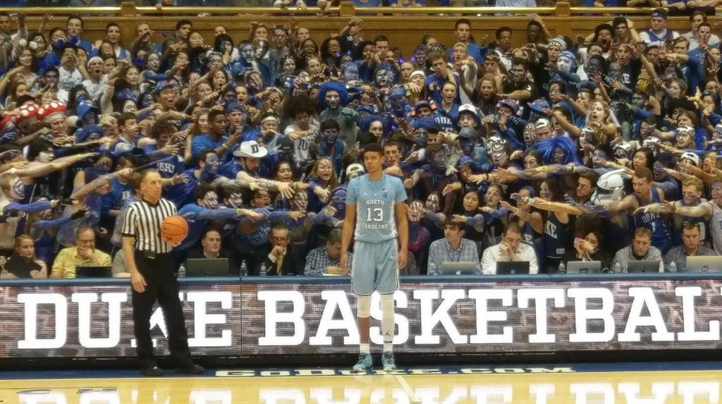 Duke's 'Cameron Crazies' taunt a UNC team member.