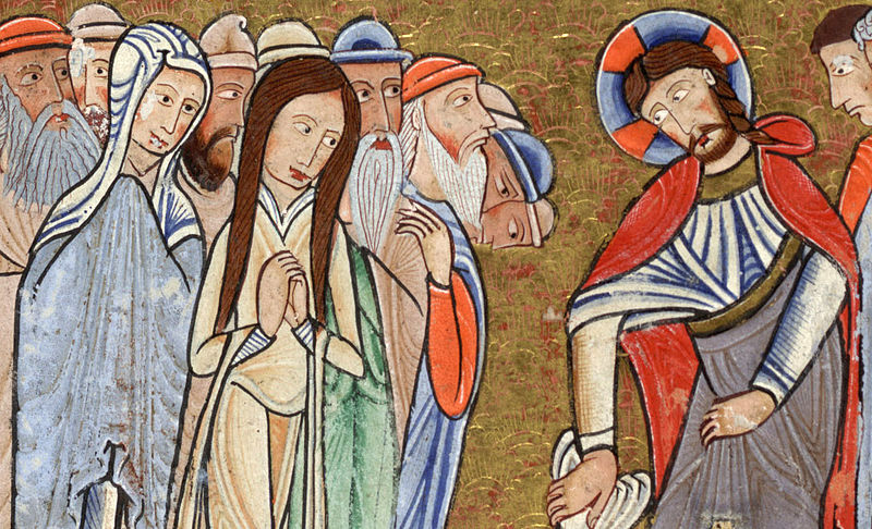 Detail of the raising of Lazarus, Mary and Martha meet Jesus. From the Hunterian Psalter, a twelfth century illuminated manuscript, thought to have been produced in England c. 1170.