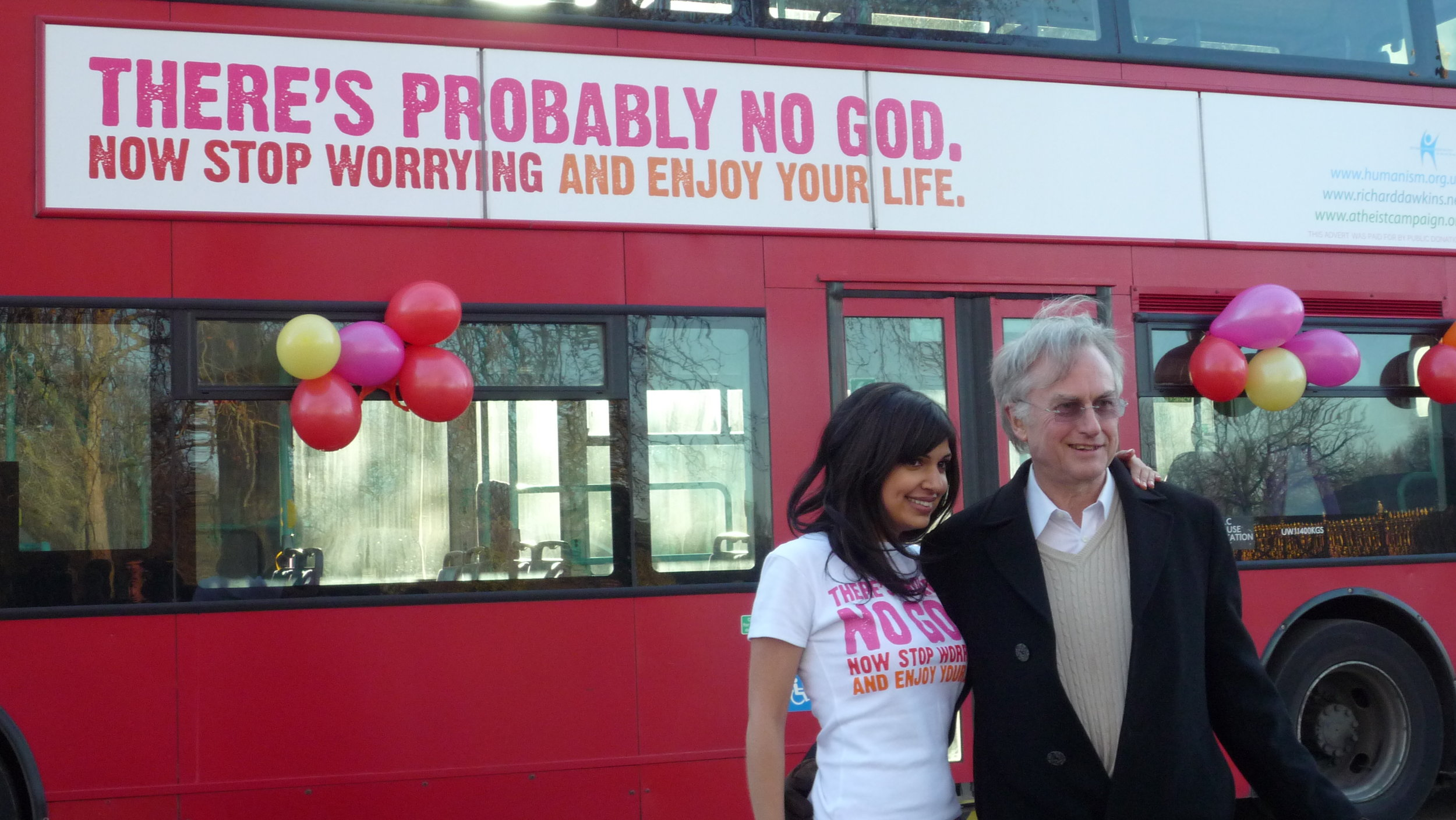 Professor Richard Dawkins and Ariane Sherine launching a bus ad campaign for atheism.