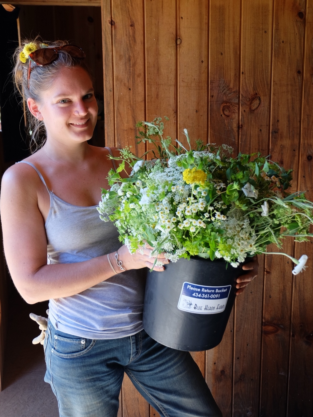 Marie with flower bucket