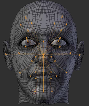 Computer-generated face model with motion data points attached to the major facial landmarks