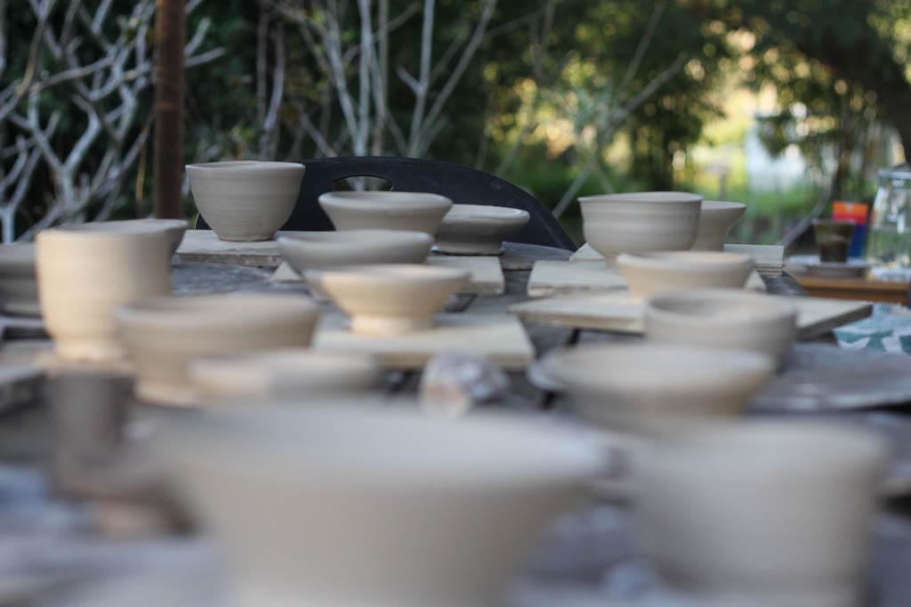 Student work on the Mudlark Pottery deck