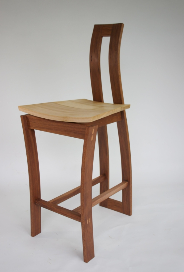 Bar Stool in steam bent spotted gum and silver quandong by Ross Annels