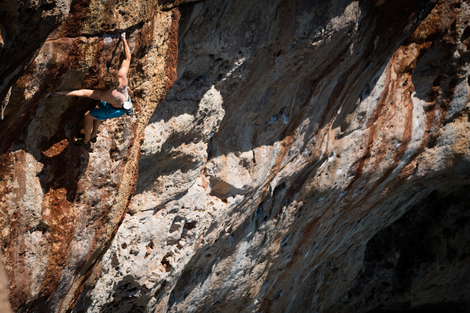 Greg warms up on Surfer Dead, 11b. Amazing pockets with a committing crux that comes in the last moves.