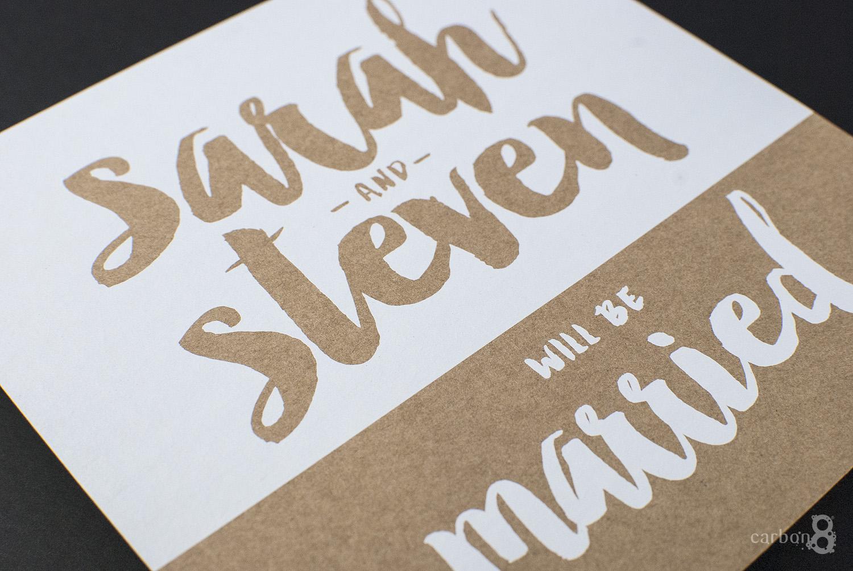 White ink printed wedding invitation