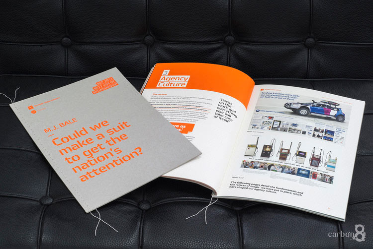 Cover and inside of an awards book by Whybin Mumbrella
