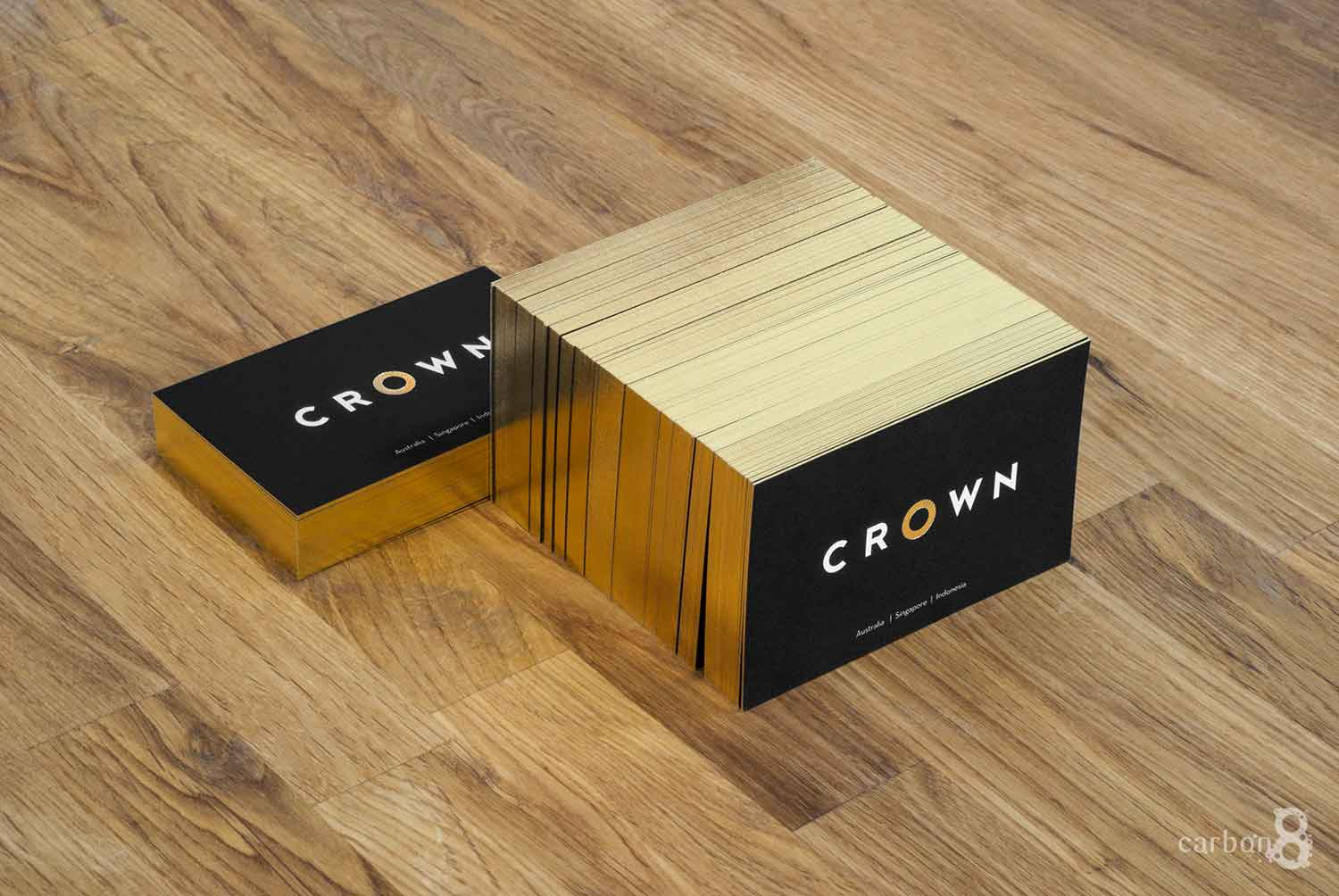 Printed business cards with gold geld edge for crown Group