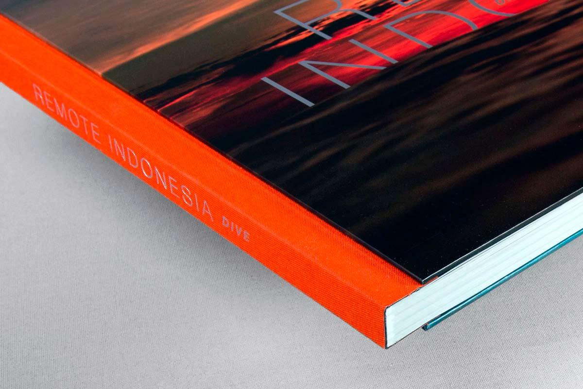 remote Indonesia dive custom case bound book side
