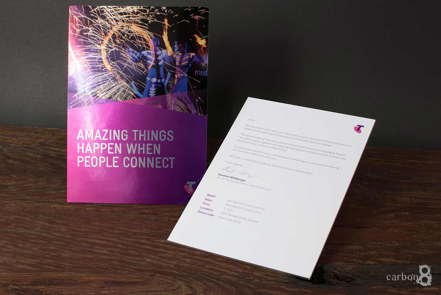 Corporate event invitation foil board Telstra