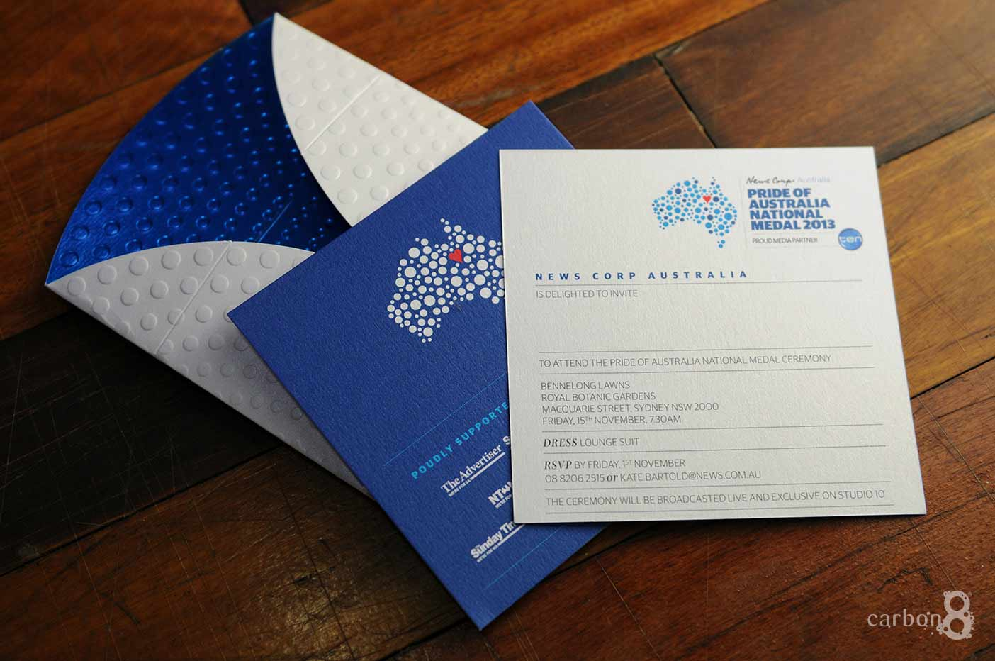 Invitation with die cut envelope for News Corp Australia