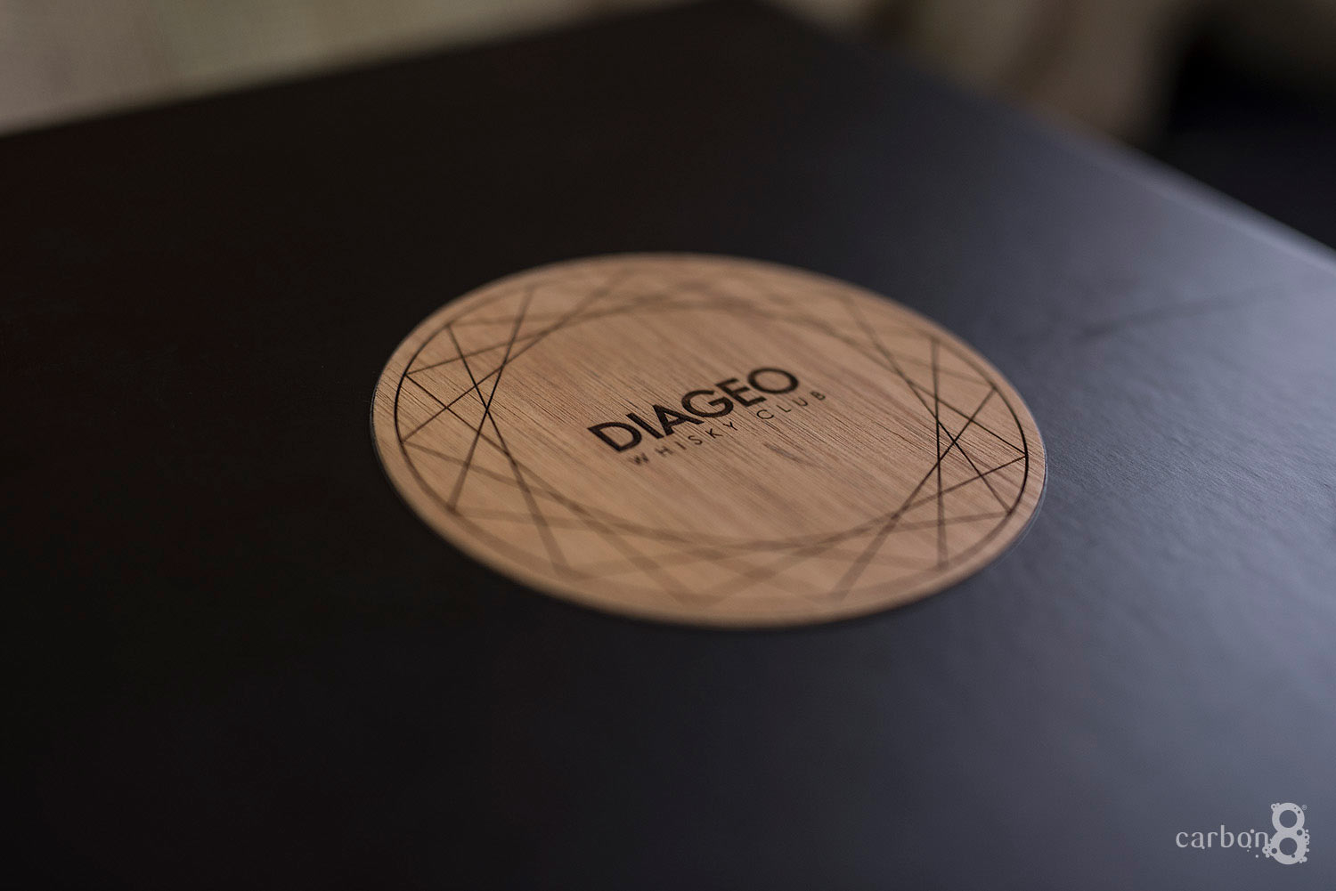 Laser engraved logo for custom made box for Diageo Whisky Club