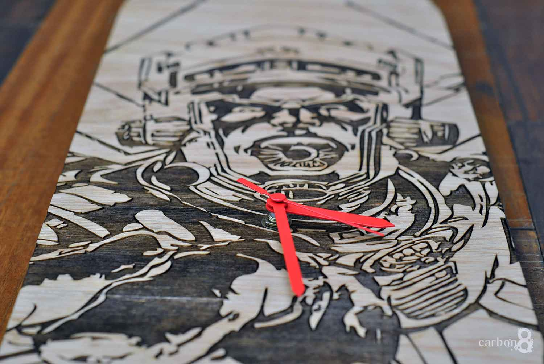 Laser engraved skateboard clock