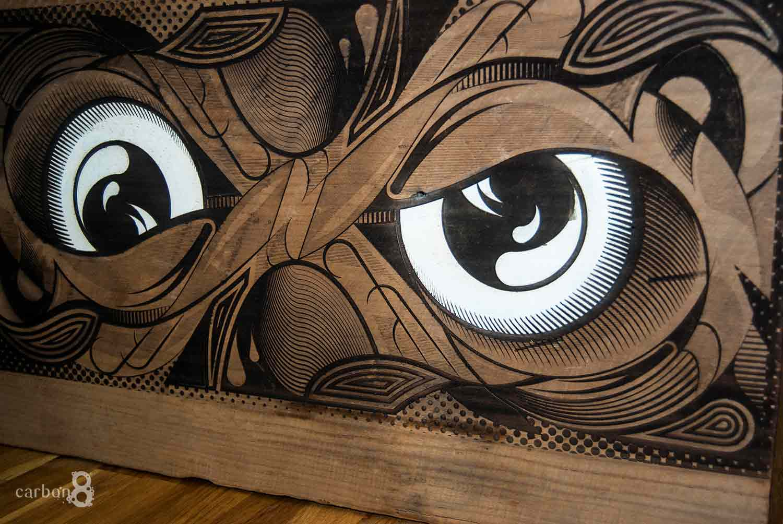 Laser engraved custom artwork by Nathan Kaw