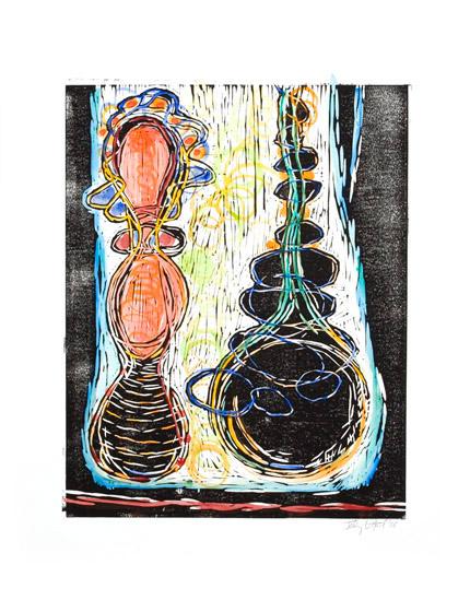 "Untitled, 2007, linoleum block print, watercolor, 26"" x 20"", artist's proof"