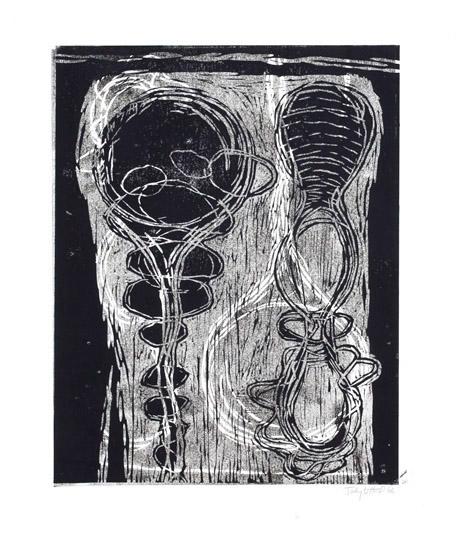 "Untitled, 2007, linoleum block print, 24"" x 20"", artist's proof"