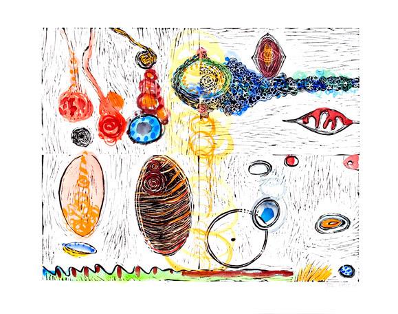 "Untitled, 2006, linoleum block print, watercolor, 20"" x 26"", artist's proof"